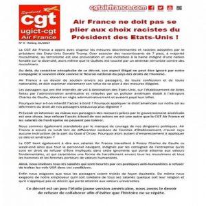 Soutien au communiqué patriotique et internationaliste de la CGT d'Air-France contre les actes discriminatoires de Trump et des dirigeants d'Air-France