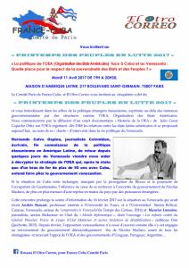 Conférence : La politique de l'OEA face à Cuba et au Venezuela [11 avril Paris]