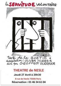 Le Discours de la servitude volontaire d'Étienne de La Boétie – Jeudi 27 avril 20H30