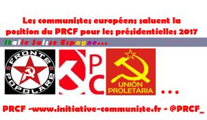 Les communistes européens saluent la position du PRCF pour les présidentielles 2017