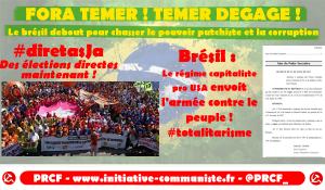 Fora Temer : le Brésil debout pour obtenir le départ du putchiste Temer.