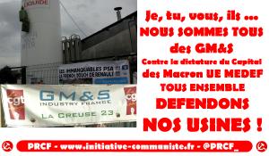 Lettre ouverte du PRCF aux ouvriers de GM&S (Creuse). Tous ensemble défendons nos usines !