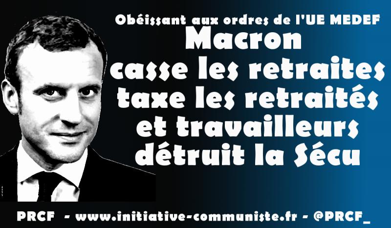 #Retraite : augmenter l'âge de départ, baisser les pensions, le double objectif de Macron-UE-MEDEF dans - DROITS Macron-retraite-800x467