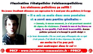 """#violencespolicières Élève ingénieur il témoigne """"Il a mis sa main dans mon pantalon et a serré mes parties génitales """""""