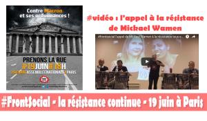 #vidéo #front social L'appel à la résistance de Mickael Wamen de la CGT Goodyear [19 juin Paris]