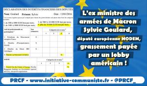 La député européenne ex ministre de Macron S Goulard payée par un lobby US 10 000€ par mois !