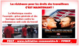 Grève Générale en Martinique, manifestation le 14 juillet la résistance contre les ordonnances Macron monte !
