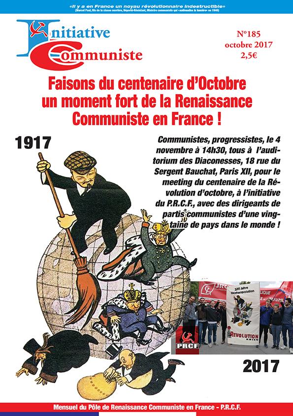 Une du numéro 185 (octobre 2017) d'initiative communiste