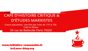 Ne manquez pas les cafés d'histoire critique et d'études marxistes [à partir du 23 sept. 17 – PARIS]