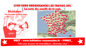 #12sept la carte des manifestations du 12 septembre #loitravail #loitravailXXL
