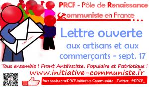 LETTRE aux ARTISANS et aux COMMERCANTS – Automne 2017 – PRCF