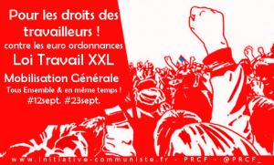 Union Action contre les Ordonnances Macron UE MEDEF pour les droits des travailleurs ! #loitravailXXL #12sept #23sept