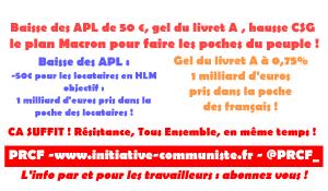 Baisse des APL de 50 €, gel du livret A : le plan Macron pour faire les poches du peuple !