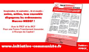 21 septembre, 23 septembre , 25 et ensuite : union, action, dégageons les ordonnances Macron-MEDEF !