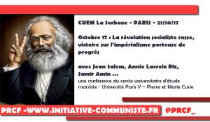 [CUEM La Sorbone – PARIS – 21/10/17]  Octobre 17 : La révolution socialiste russe, victoire sur l'impérialisme porteuse de progrès. #conférence