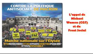 Marchons tous ensemble le 18 novembre vers l'Elysée – l'appel de la CGT goodyear et du Front Social