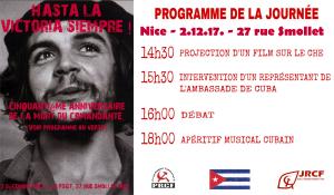 50e anniversaire de la mort du CHE : Projection débat – Nice 2 dec. 17