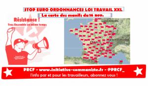 #manif16nov : la carte des manifestations partout en France #loitravail #ordonnances #loitravailXXL