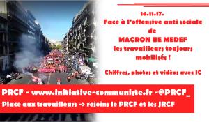 #manif16novembre : les chiffres et photos de manifestations réussies contre le coup d'état social de MACROn UE MEDEF