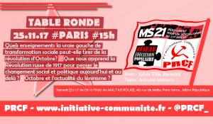 Table Ronde : quels enseignements pour la gauche de la révolution d'Octobre. MS21 – PRCF – Réseau Éducation Populaire.