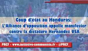 Coup d'État au Honduras: L'Alliance d'opposition appelle à manifester contre la dictature Hernandez-USA