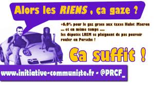Macron taxe le gaz, ses députés se plaignent de pas pouvoir frimer en Porsche !
