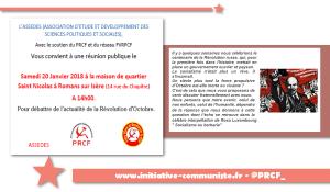 Socialisme ou barbarie ? Retrouvez la force révolutionnaire d'Octobre[20/01 – Roman sur Isère – ASSEDES / PRCF38 / FV&R PCF)]
