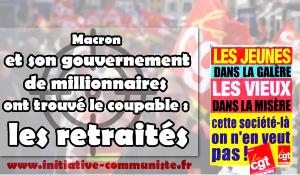 Macron et son gouvernement de millionnaires ont trouvé le coupable : les retraités