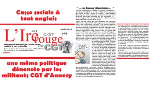 Casse sociale et tout anglais, une même politique dénoncée par les militants CGT d'Annecy