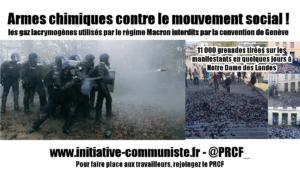 Armes chimiques : les gaz lacrymogènes utilisés par le régime Macron interdits par la convention de Genève