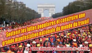 Soutenir les luttes populaires et construire une grande manifestation nationale du monde du travail