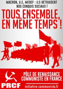 Le PRCF et les JRCF lancent un appel à amplifier la mobilisation : tous ensemble, en même temps !