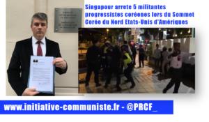 Cinq militantes progressistes coréennes arrêtées à Singapour !