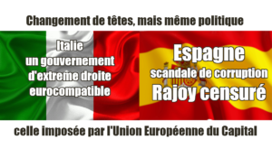 Espagne,  Rajoy censuré, nouveau gouvernement en Italie