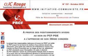 CLIC Rouge 197 – votre supplément électronique gratuit à Initiative Communiste [octobre 2018]