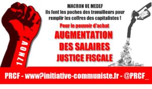 #17nov des syndicats appellent à l'action, pour l'augmentation des salaires .