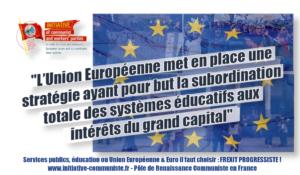 """ICWPE : """"l'Union Européenne met en place une stratégie ayant pour but la subordination totale des systèmes éducatifs aux intérêts du grand capital"""""""