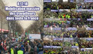 8 décembre : déterminée et pacifique très forte mobilisation des #giletsjaunes dans toute la France