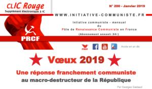 CLIC Rouge 200 – votre supplément électronique gratuit à Initiative Communiste [janvier 2019]