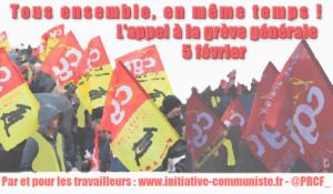 La CGT lance un appel à la grève générale le 5 février ! Tous ensemble, en même temps
