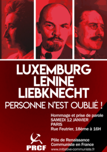 Janvier 1919 / janvier 2019 – HONNEUR A ROSA LUXEMBURG, A KARL LIEBKNECHT  ET A L'IMMORTELLE INSURRECTION SPARTAKISTE DES PROLETAIRES ALLEMANDS.