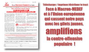 Face à Macron-MEDEF et à l'Union européenne qui cassent notre pays avec les gilets jaunes, amplifions la contre-offensive populaire  ! #Tracts #PRCF