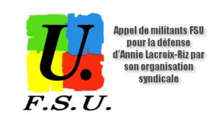 Appel de militants FSU pour la défense d'Annie Lacroix-Riz par son organisation syndicale