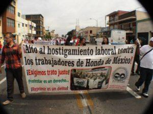 Mexique : violente répression antisyndicale dans les usines Honda !