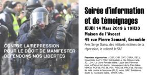 #grenoble Soirée d'information contre la répression, pour le droit de manifester