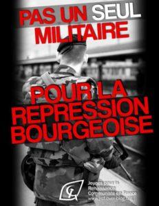 Sentinelle : pas un seul jeune militaire pour la répression bourgeoise !