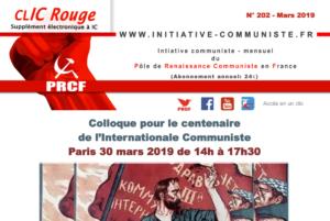 CLIC Rouge 202 – votre supplément électronique gratuit à Initiative Communiste [mars 2019]