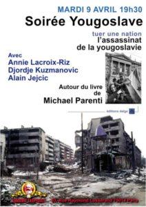 Soirée débat avec Annie Lacroix Riz, Djordje Kuzmanovic et Alain Jejcic – 9.04.19 – Paris 19H30 Librairie Tropiques