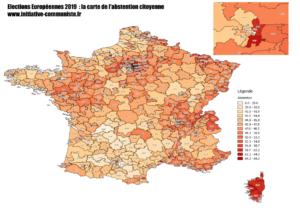La carte de France des résultats des élections européennes 2019.