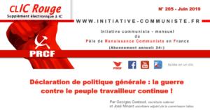 CLIC Rouge 205 – votre supplément électronique gratuit à Initiative Communiste [juin 2019]